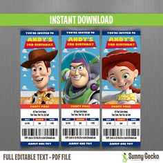 disney toy story ticket invitations instant by