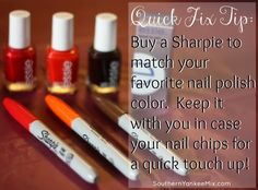 Quick Fix Tip: Get a Sharpie marker to match your nail polish. If it chips you can quickly color it in until you can redo your polish! via southernyankeemix.com #nails #nailpolish #tip
