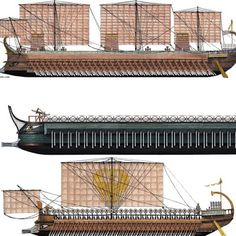 Hellenistic war galleys with a Trireme on bottom, Quinquereme in middle, and the top is a massive Polyreme with a crew of 4,000