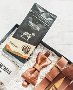 """Handsome """"Leather Man Gift Box"""" includes a leather bow tie and suspenders for your groomsmen and groom for the perfect modern day wedding day look. Leather Suspenders, Leather Bow, New Product, Product Launch, Curated Gift Boxes, Top Gifts, Groomsman Gifts, Bow Ties, Groomsmen"""