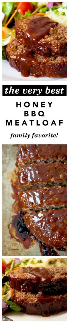 Honey Barbecue Meatloaf Recipe -  The best, moistest, most crowd-pleasing meatloaf EVER - made with honey for sweetness and bbq sauce for smokiness. Tried, true, and kid friendly! Makes a great Sunday Dinner!