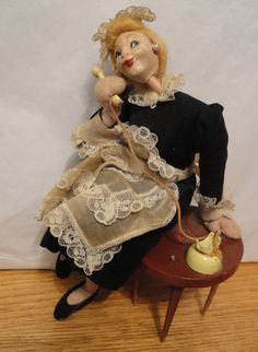 SOLD Vintage Cloth 40s Klumpe Roldan HOUSE MAID on Phone VGC RARE Character Doll