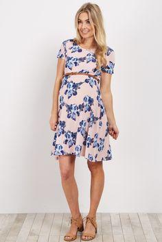 d985a5bd1486 ASOS Maternity Bandeau Shirred Mini Dress with Peplum Hem in Print ...