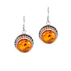Baltic Amber Drop Earrings in Sterling Silver - Silver Trendz