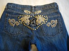 Bebe Womens Jeans Embroidered Bottom Metal Studs Stretch Denim Bootcut Size 27 | eBay
