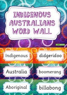 Indigenous Australians Word Wall Vocabulary Teaching Resource