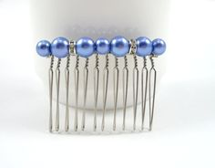 Periwinkle Blue Pearl and Rhinestone Bridesmaid Hair Comb - Bride and Bridesmaid Wedding Hair Comb Accessory on Etsy, $8.00