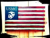 US Marine Core - Custom Wooden Flag (Hidden Compartment) - The Ole Bull Co. Ole Bull, Rustic Country Furniture, Rustic Dining Chairs, Wooden Flag, Barn Parties, Military Gifts, Flag Decor, Hidden Gun, Marine Corps