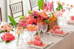 Table setting in crimson and coral hues