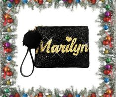 Personalized Glitter Clutch Purse, Stitched on Name in contrasting glitter, choose from over 18 colours, Unique gift for her by Bstarshop on Etsy Glitter Clutch Bag, Clutch Purse, Personalized Gifts For Kids, Bridesmaid Gifts, Bridesmaids, Unique Gifts For Her, Unique Purses, Great Birthday Gifts, Christmas Gifts For Her