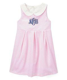Smocked or Not Pink & White Seersucker Monogram Dress - Infant, Toddler & Girls | zulily
