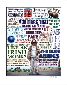 The Dude Abides The Big Lebowski tribute signed print by ChetArt, $25.00