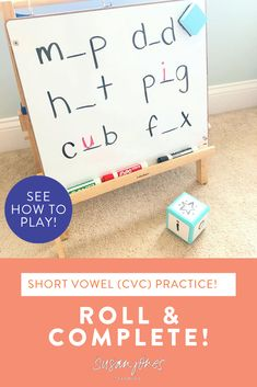 Roll and complete is an easy-to-prep small group phonics game where students in kindergarten and first grade can practice identifying the missing medial vowel in CVC words! It's great to play with short vowel words! Head over to see ways to differentiate.