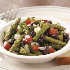 Black Bean Asparagus Salad - Tweaks: - One can of black beans instead of two - Frozen sweet corn - Honey lime dressing from the tomato corn avocado salad