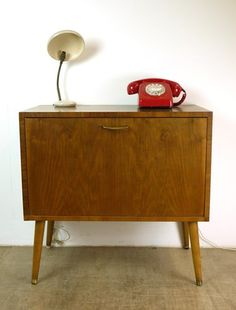 Retro 50's 60's Record Cabinet Box with Tapered Legs and Brass Feet Side Table