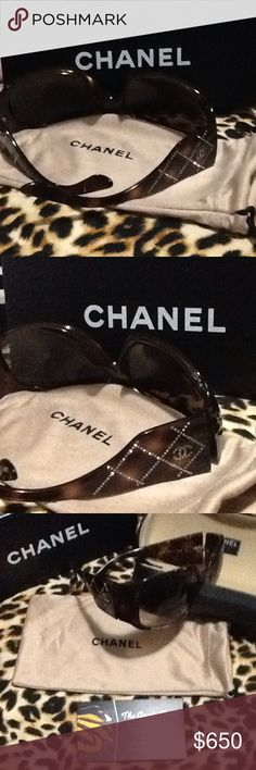 Chanel New Sunglasses Tortoise shell with savortski crystal blingy accents with Chanel logo on each side and more. With box, with dust cover, with case. A must have item.... Chanel Accessories Glasses