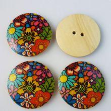 60 PCS 18 MM teste padrão de flor pintura de madeira botões de costura roupas botas casaco acessórios MCB-185