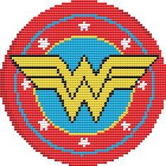 Cross Stitch Charts Wonder Woman Shield Cross Stitch Pattern PDF by LeiaPatterns Cross Stitch Art, Cross Stitching, Cross Stitch Embroidery, Marvel Cross Stitch, Modern Cross Stitch Patterns, Cross Stitch Designs, Learn Embroidery, Embroidery Patterns, Wonder Woman