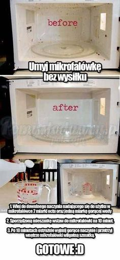 SUPER TRIK NA SZYBKIE UMYCIE MIKROFALÓWKI NA BŁYSK BEZ WYSIŁKU!! :D Kitchen Organization, Organization Hacks, Daily Hacks, Wd 40, Ideas Geniales, Simple Life Hacks, Home Hacks, Clean House, Good To Know