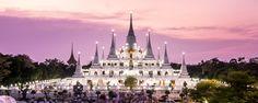 Prang Temple Wat asokaram of Samutprakarn Province Thailand Mosques, Cathedrals, Cocos Island, Thailand Photos, Place Of Worship, Temples, Photo Credit, Singapore, Islands