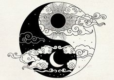 Cool Art Drawings, Art Drawings Sketches, Easy Drawings, Tattoo Drawings, Indie Drawings, Shirt Drawing, Ink Illustrations, Ying Y Yang, Yin Yang Art