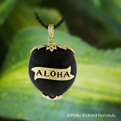 The Kukui nut is a sacred plant to the Hawaiian people and became the official tree emblem for the state of Hawai'i. Hawaii's last reigning Monarch, Queen Lili'uokalani, wore this sacred nut as a pendant encrusted with a 14Karat gold nameplate and attachments. We have replicated this stunning local favorite with modernized touches to include the wearers name. Hawaiian Pendant. Hawaiian Heirloom Jewelry by Philip Rickard Honolulu