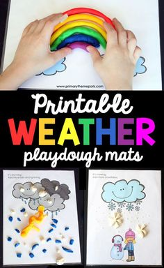 Free Printable Weather Playdough Mats | Weather Activities | Weather Activities Preschool