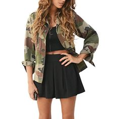 5219fa204093 Pengy Women Fashion Long Sleeve Casual Button Camouflage Jacket Coat Street  Jackets Camo Jacket Women