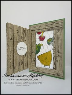 Stampin' Sacha - Stampin' Up! - Annual Catalogue 2016-2017 - Sale-A-Bration 2017 - Hardwood - Stitched Shapes Framelits - Hey Chick - Chicken Coop Card - Every Day Occasions - #stampin_sacha - #stampinup - #chicken
