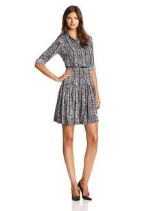 Long-Sleeve Belted Shirt Dress by Calvin Klein