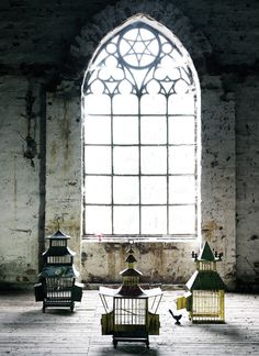 The arched window. #interiors, #decay, #brick, #lanterns