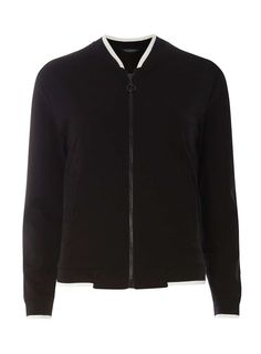 Dorothy Perkins Womens Black contrast trim bomber Jacket- Black Long sleeve jersey black bomber with contrast ivory trim. Length approx 60cm. 73% Cotton,22% Polyester,5% Elastane. Machine washable. http://www.MightGet.com/january-2017-13/dorothy-perkins-womens-black-contrast-trim-bomber-jacket-black.asp