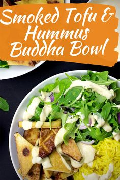 Indulge with this smoky and savory tofu and hummus buddha bowl. The combination of smoked tofu, hummus, and turmeric rice makes for a perfect vegan lunch (or dinner!) Not only is this recipe delicious, it is quick and easy, and ready in only 15 minutes! #vegan #quickrecipe #lunch #dinner #buddhabowl #tofu #hummus Baked Potato Recipes, Veggie Recipes, Vegetarian Recipes, Dinner Recipes, Quick Recipes, Quick Meals, Halloumi Salad, Tofu Breakfast, Buddha Bowl