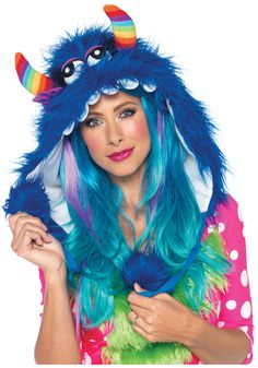 fnt SALE! Furry Rainbow Dino Hood with Pom Poms Rave Hat Costume
