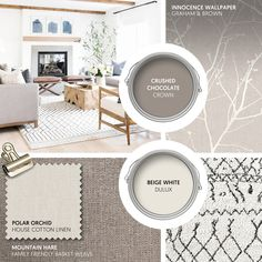 Monday Moodboard - Choose neutrals for a look that is elegant and timeless. Shades of cream and brown are complemented by this naturally inspired wallpaper from Graham & Brown... #theloungeco #moodboard #interiormoodboard #paintswatches #wallpaper #interiordesign #lounge #loungedecor #livingroomdecor #coffee #brown #earthytones #neutral #neutralinterior