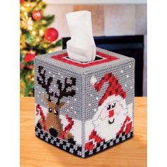 Mary Maxim - Santa & Reindeer Tissue Box Cover Plastic Canvas Kit - Christmas Blowout - Promotions