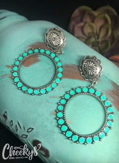 Cheekys Boutique ~ affordable boutique apparel and jewelry! - Adorable turquoise hoops Effektive Bilder, die wir über diy clothes anbieten Ein Qualitätsbild k - Jewelry Tags, Body Jewelry, Beaded Jewelry, Jewelry Model, Diamond Jewelry, Silver Jewelry, Diy Schmuck, Schmuck Design, Grandmother Jewelry