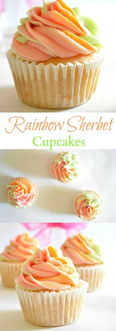 Sherbet Cupcakes Rainbow Sherbet Cupcakes are the perfect way to celebrate Spring!Rainbow Sherbet Cupcakes are the perfect way to celebrate Spring! Köstliche Desserts, Delicious Desserts, Dessert Recipes, Gourmet Cupcake Recipes, Spring Desserts, Spring Recipes, Brownie Recipes, Yummy Treats, Sweet Treats