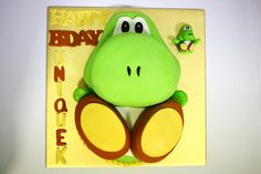Presenting Yoshi and his twin (cake). A little something for the birthday boy- Baby yoshi at the side Made with love: Strawberry shortcake Theme: Yoshi Twins Cake, Boy Birthday, Birthday Cakes, Life Is Short, Fondant Cakes, Strawberry Shortcake, Beautiful Cakes, Yoshi, Cake Decorating