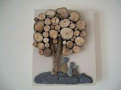 Beach pebble art picture driftwood on canvas handmade unique ...