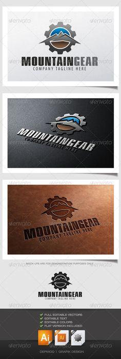 Mountain Gear Logo  #GraphicRiver         Logo of mountain landscape in a gear. C