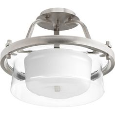Progress Lighting Indulge 15-In W Brushed Nickel Etched Glass Semi-Flush Mount Light P3169-09