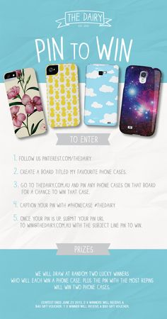 We will draw at random TWO lucky winners who will each win a phone case. Plus the PIN with the most repins will win TWO phone cases.