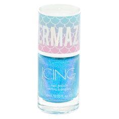 Complete your mermaid look by applying this nail polish to your nails! The glitter and flakes will sparkle in any lighting. Cute Nail Polish, Glitter Nail Polish, Acrylic Nails, Simple Nail Art Designs, Nail Designs, E Claire, Unicorn Fashion, Mermaid Nails, Blue Nails