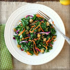Kale Quinoa Salad // (I used kale, quinoa, beets & chickpeas & dressed it with the sherry-lemon-cumin dressing & it was fantastic!)