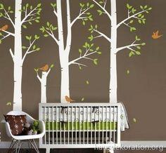 kinderzimmer wand streichen, grün, grau, kreise, punkte | eigenes ... - Kinderzimmer Braun Grun