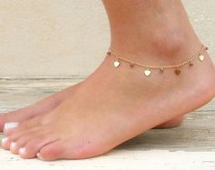 Heart Charms And Beads Anklet, Gold Heart Anklet, Delicate Gold Anklet, Layering Anklet, Heart And Swarovski Ankle Bracelet. Valentine's Day