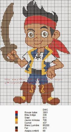 Cross Stitch Charts, Cross Stitch Embroidery, Cross Stitch Patterns, Desenho Peter Pan, Jack Le Pirate, Pirate Cartoon, Minecraft Pixel Art, Minecraft Stuff, Stitch Cartoon
