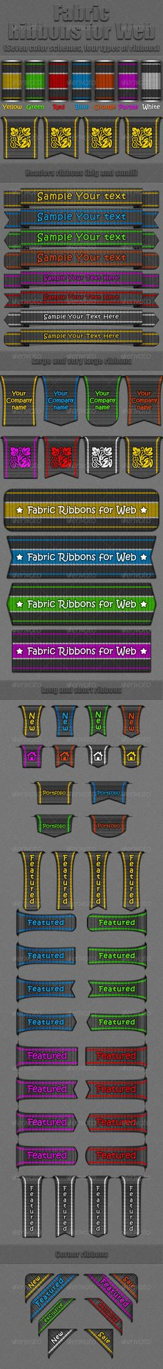 Layered PSD filesHighly organized layers and groupsShape layersSeven color scheme Four type of ribbons Easy change color stripe ri 404 Pages, Orange And Purple, Yellow, Badge Logo, Logo Design, Graphic Design, Red Ribbon, Color Stripes, Logo Templates
