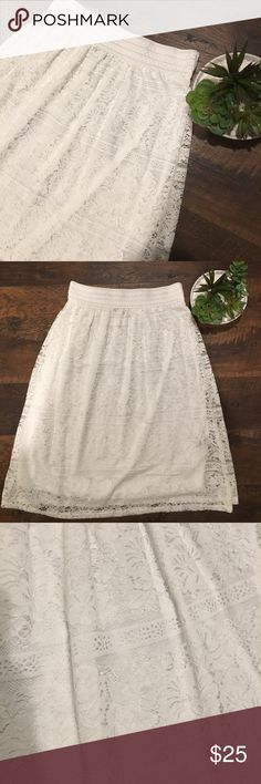 """White Lace Boho Midi Skirt White Lace Midi Skirt by """"Me 2 Magic"""". Sized as a large but could fit a medium too in my opinion. Worn one time for a couple of hours so pretty much new condition without tags! Very cute skirt! Can also be used as a skirt or dress extender. Smoke free and pet free home. Always open to offers and bundling! Me 2 Magic Skirts Midi"""